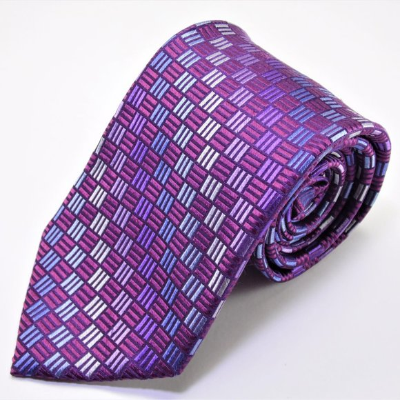 Michael Kors Purple Multicolor Geometric Silk Tie